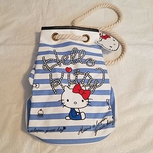 Hello Kitty Blue White Rope Drawstring Bag NEW